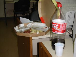 cold pizza and coke